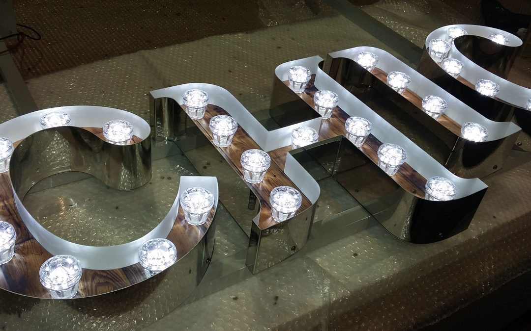 Illuminated Fairground style Mirror polished letters