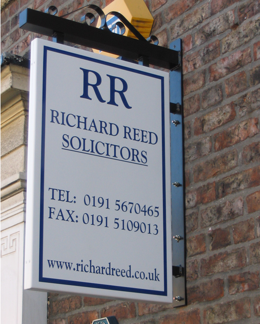 Double sided aluminium projecting sign – Richard Reed