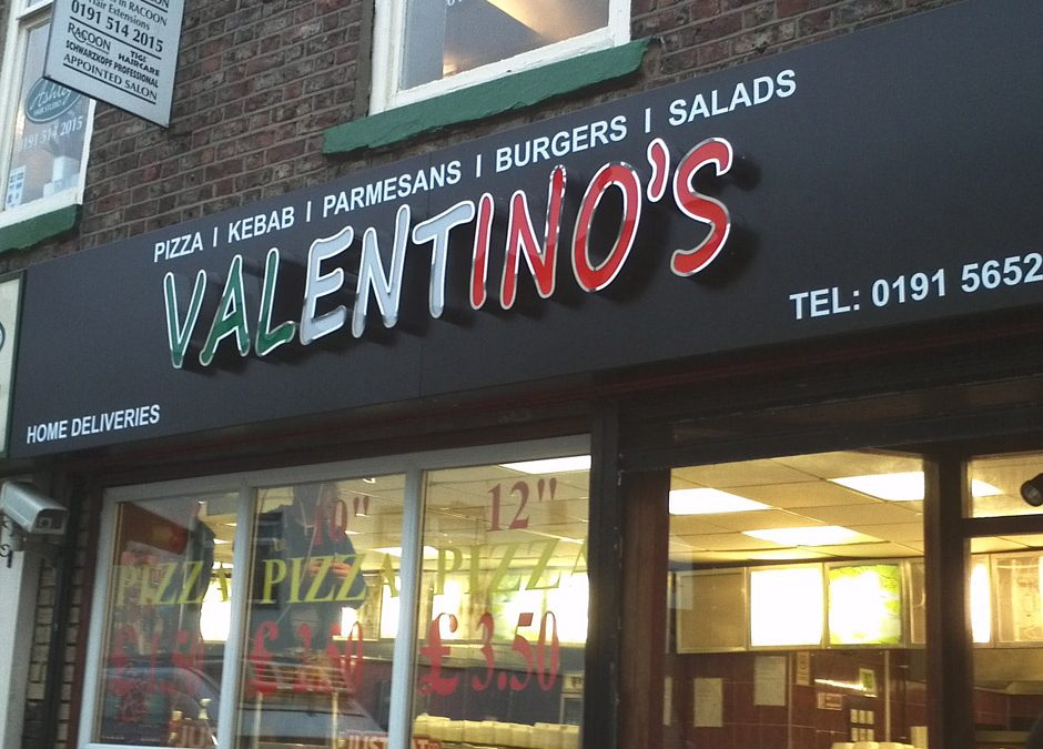 Folded Tray sign fitted with illuminated built up Rim & Return Mirror polished letters