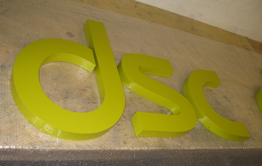 Green Powder coated built up aluminium Letters.
