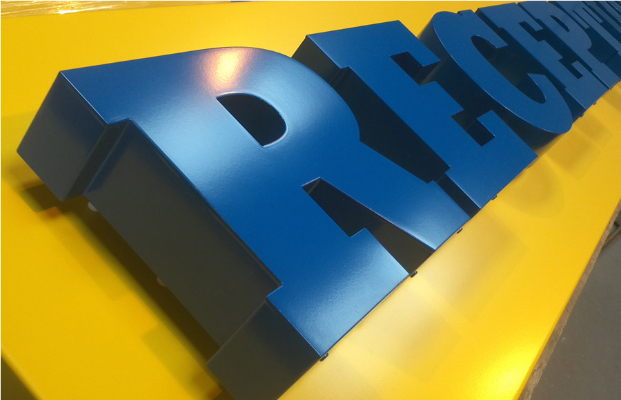 Built up letters – Halo illuminated powder coated letters painted blue